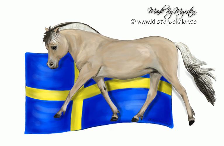 Dekal Fjording med Svenska flaggan