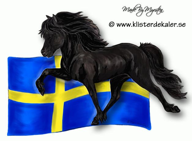 Dekal Islandshäst med flagga