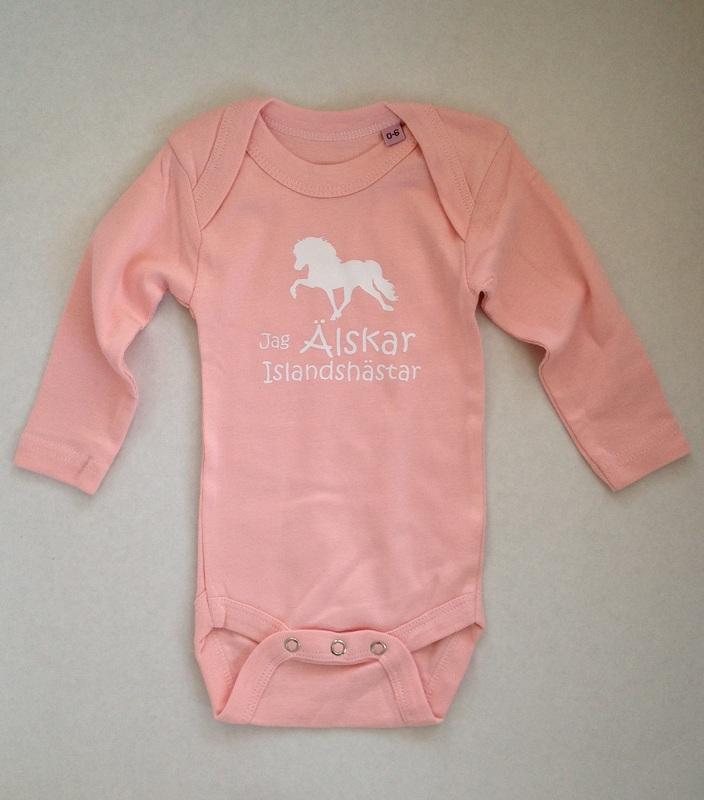 Baby Body långärmad - Jag Älskar Islandshästar