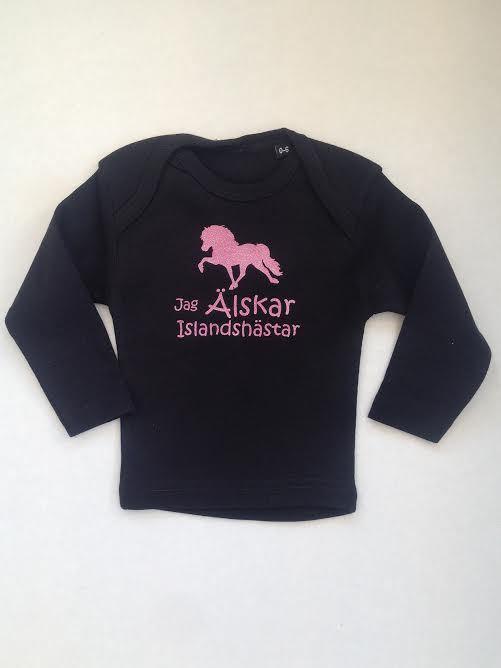 T-shirt baby skimrande - Jag Älskar Islandshästar