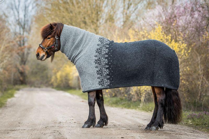 Kidka Hästtäcke med hals Mönstrad/Grå