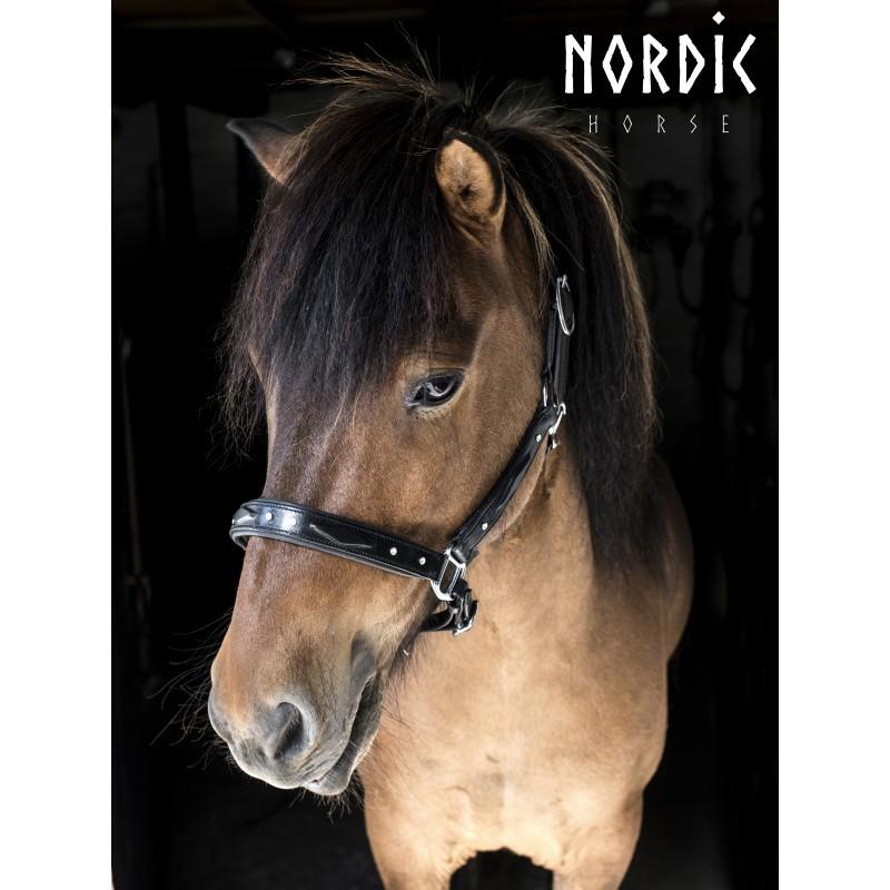 Nordic Horse Lädergrimma med mönster och stenar